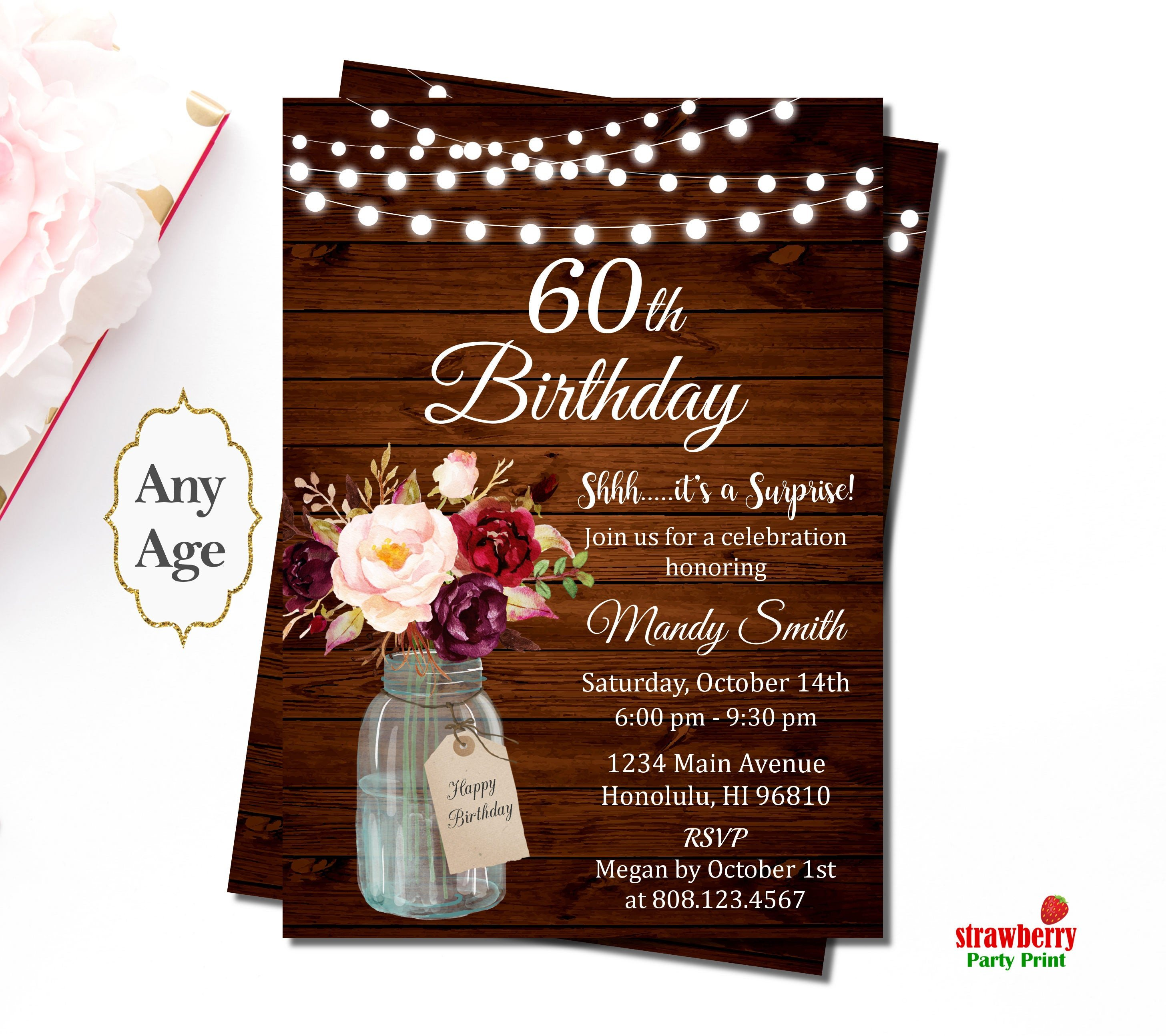 60 Th Birthday Invitation 60th Birthday Invitations for Women Surprise 60th Birthday