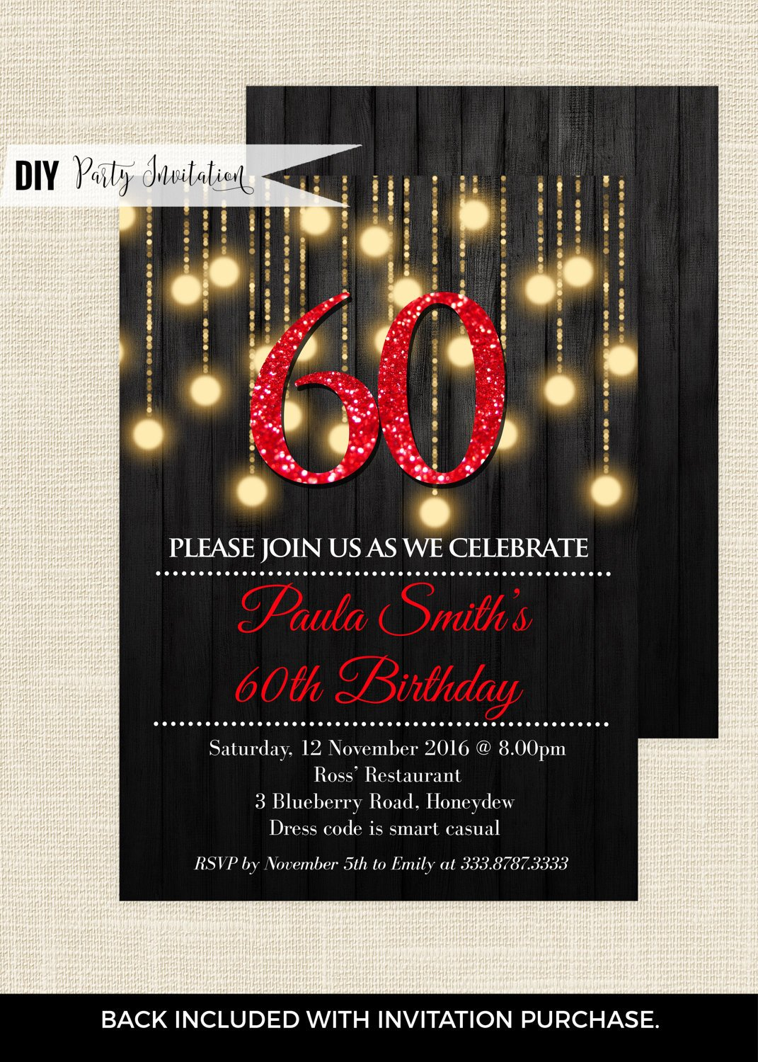 60 Th Birthday Invitation Red 60th Birthday Invitations 60th Birthday Invitations for