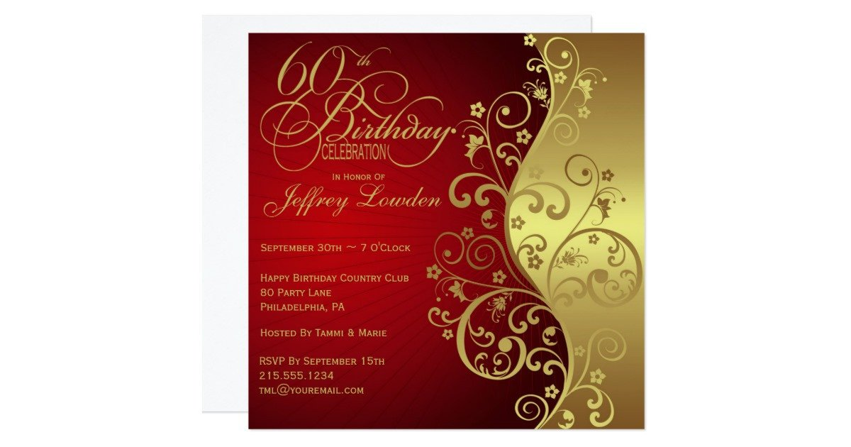 60 Th Birthday Invitation Red & Gold 60th Birthday Party Invitation