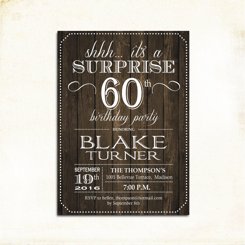 60 Th Birthday Invitation Surprise 60th Birthday Invitation Any Age Rustic Invite