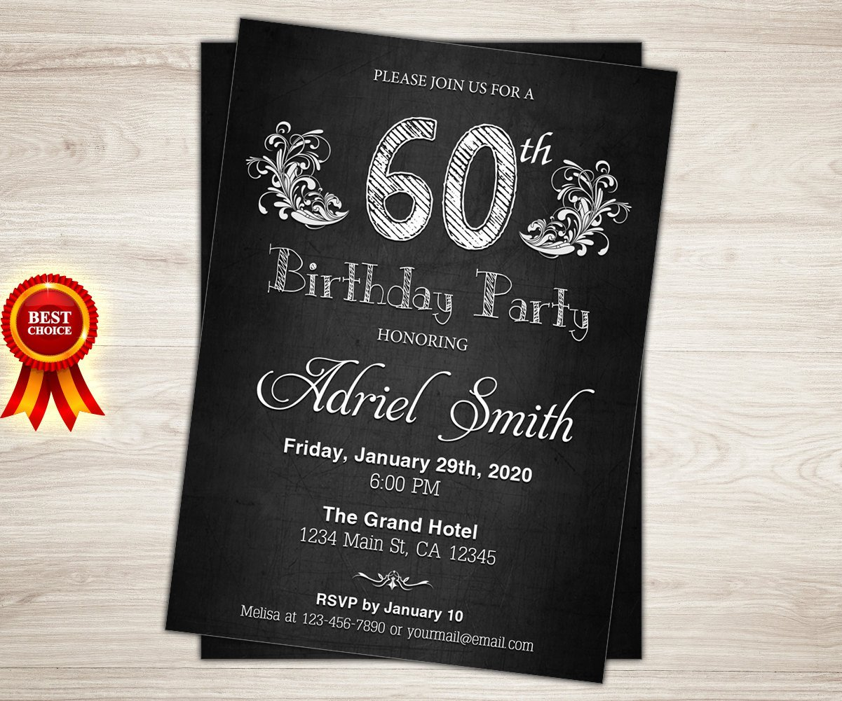 60 Th Birthday Invitation Surprise 60th Birthday Invitation Chalkboard 60th Birthday