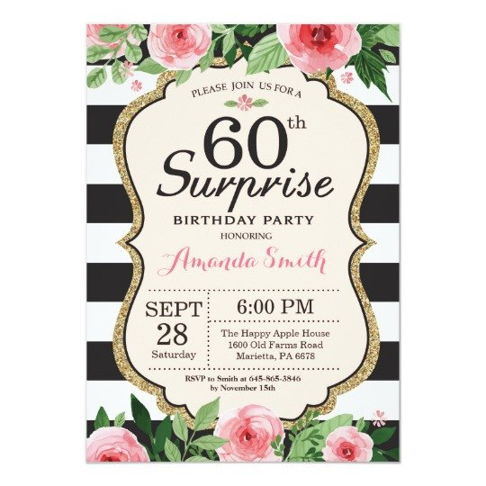 60 Th Birthday Invitation Surprise 60th Birthday Invitation Women Floral