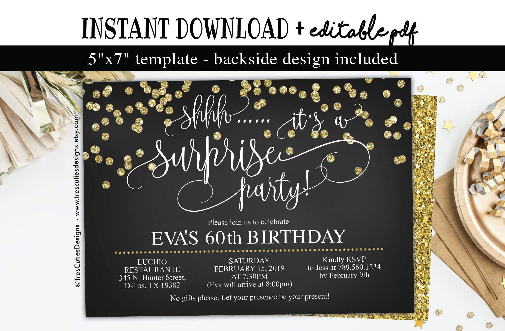 60 Th Birthday Invitation Surprise Birthday Invitation 60th Birthday Party Black