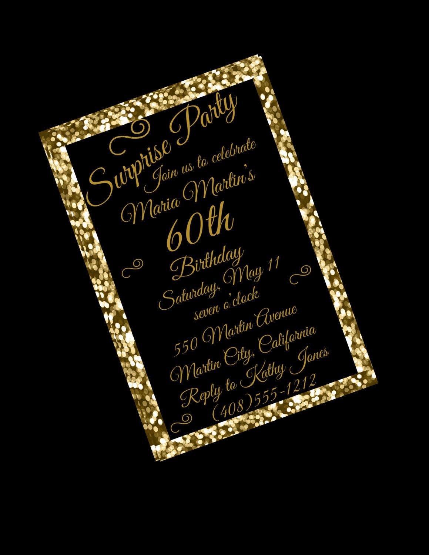 60 Th Birthday Invites 60th Birthday Invitation 60th Birthday Party 60th Surprise