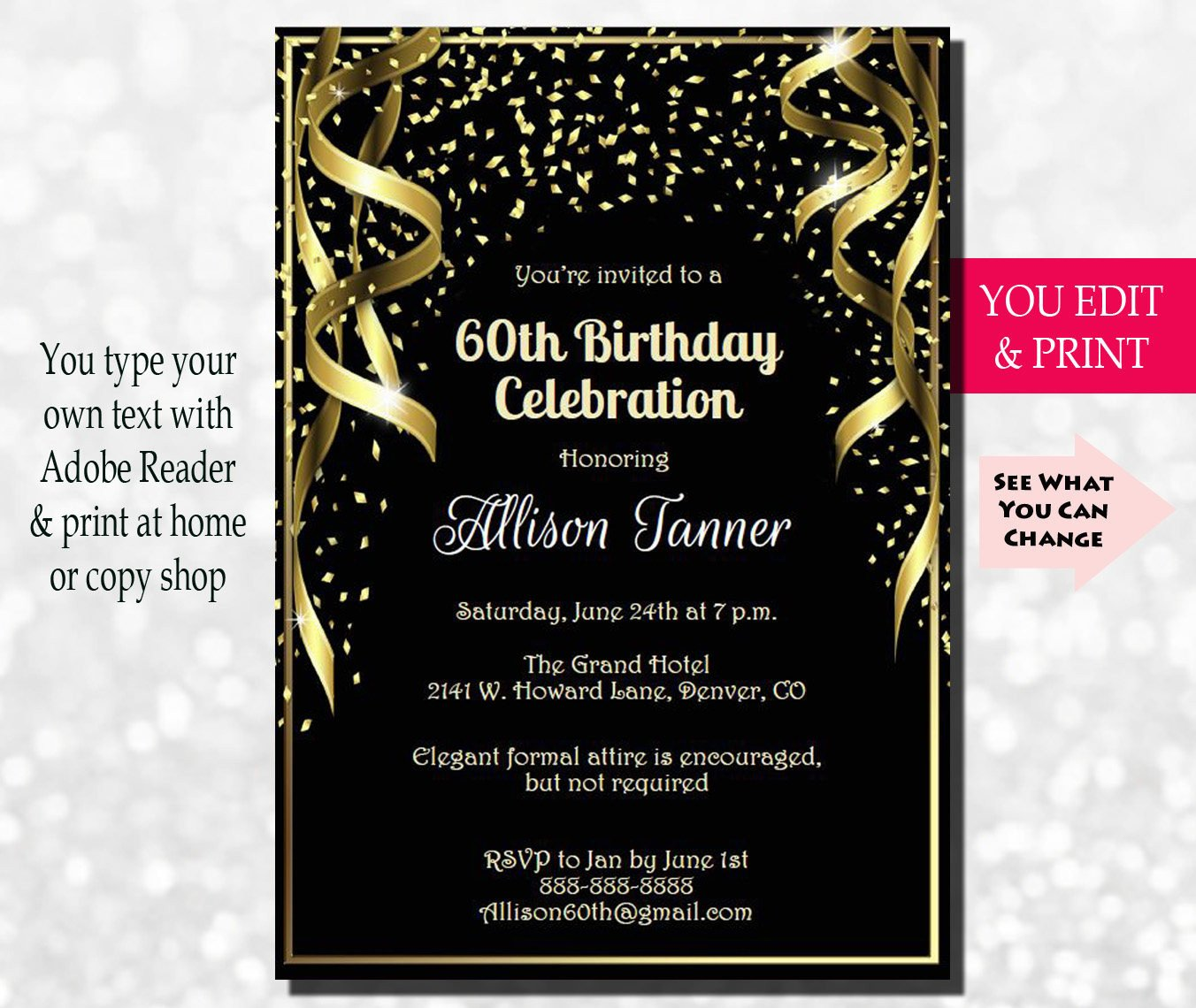 60 Th Birthday Invites 60th Birthday Invitation 60th Birthday Party Invitation 60th