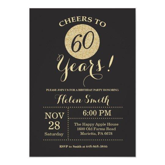 60 Th Birthday Invites 60th Birthday Invitation Black and Gold Glitter