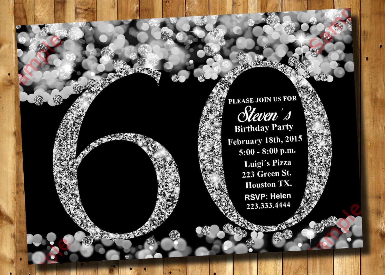 60 Th Birthday Invites 60th Birthday Invitation Silver Glitter Invitation Adult