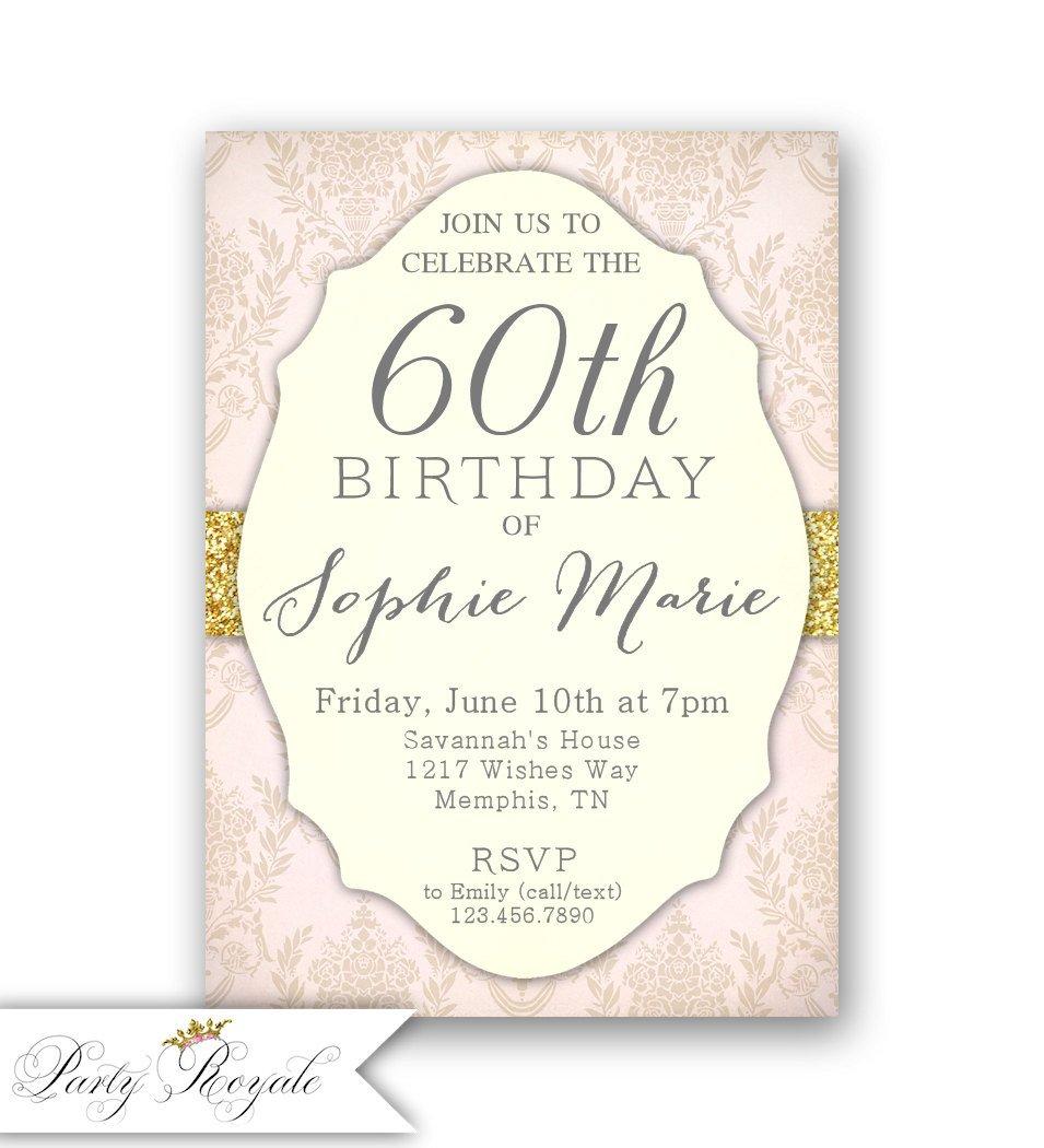 60 Th Birthday Invites Elegant 60th Birthday Invitations Women S 60th