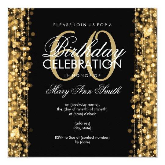 60 Th Birthday Invites Elegant 60th Birthday Party Sparkles Gold Card