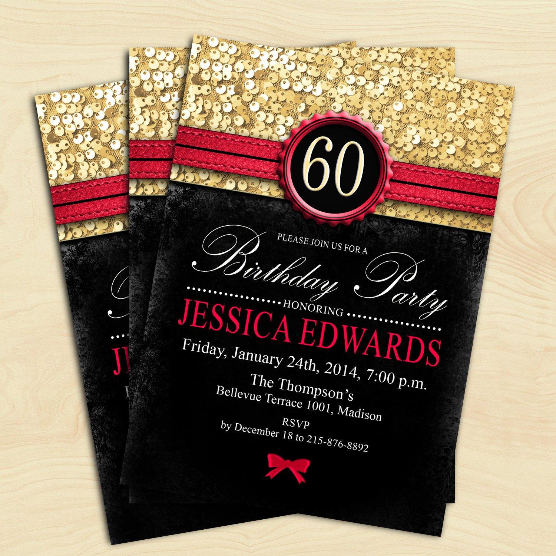 60 Th Birthday Invites Women 60th Birthday Invitation 70th 80th 90th Any Age