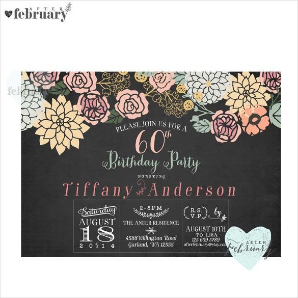 60th Birthday Invitation Template 26 60th Birthday Invitation Templates – Psd Ai