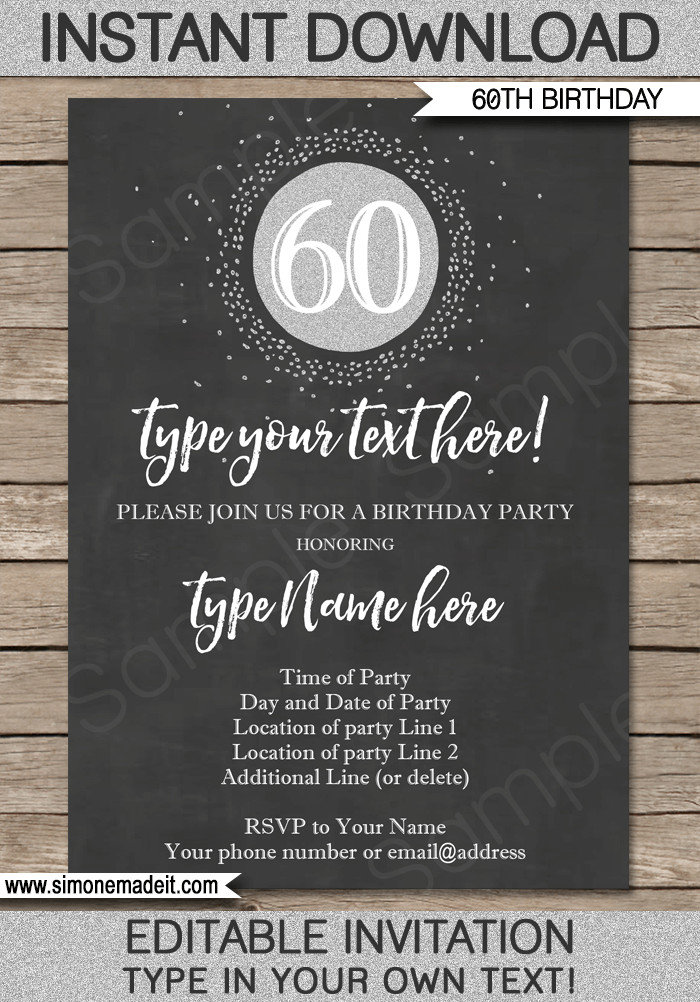 60th Birthday Invitation Template Chalkboard 60th Birthday Invitation Template