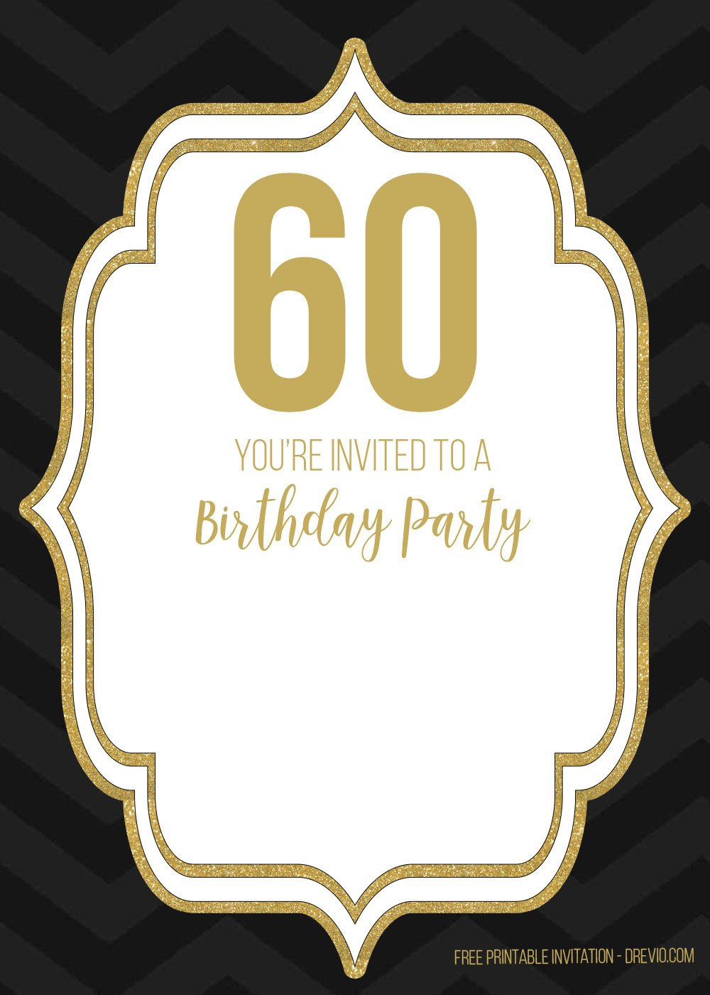 60th Birthday Invitation Template Free 60th Black Golden Birthday Invitation Templates