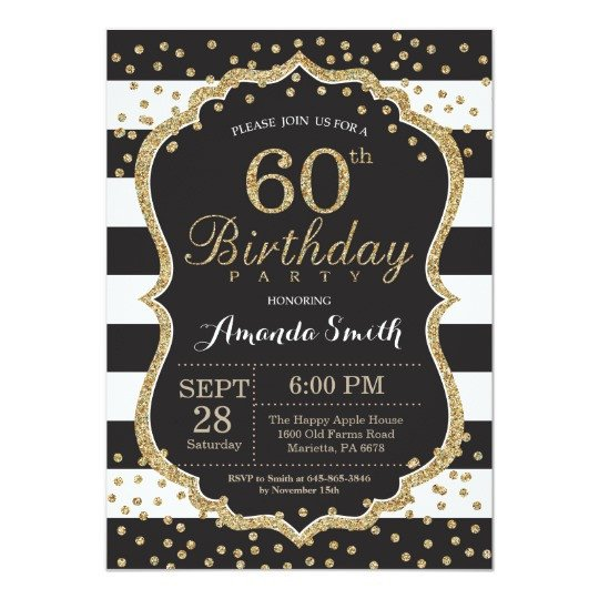 60th Birthday Invitations Template 60th Birthday Invitation Black and Gold Glitter Card