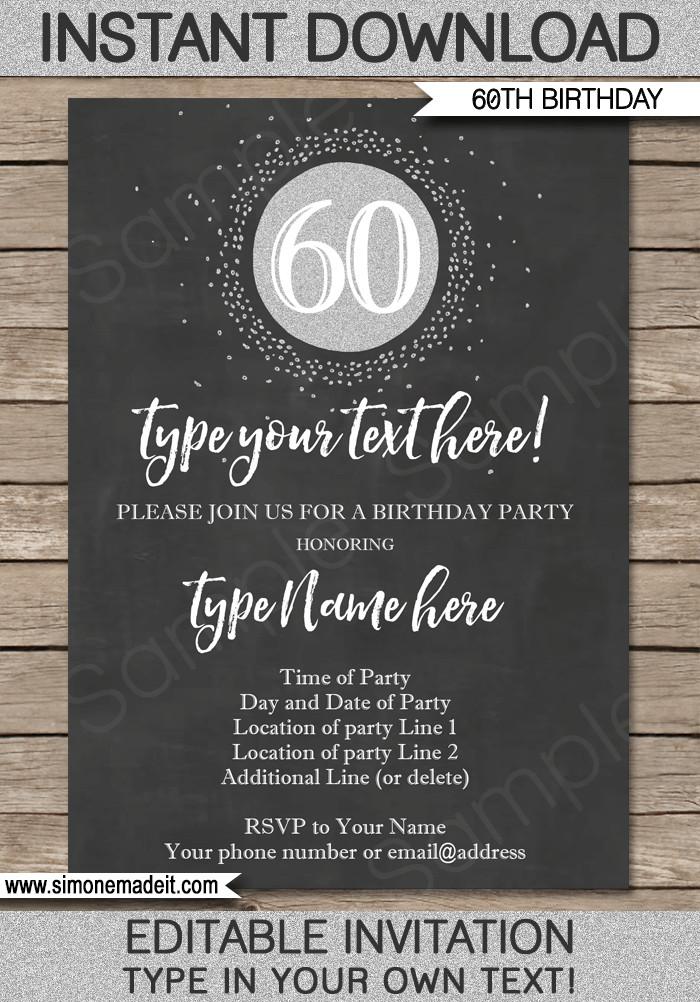60th Birthday Invitations Template Chalkboard 60th Birthday Invitation Template
