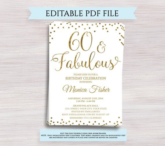 60th Birthday Invitations Template Editable 60th Birthday Party Invitation Template 60 and