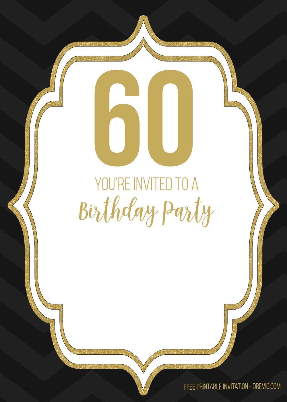 60th Birthday Invitations Template Free 60th Black Golden Birthday Invitation Templates