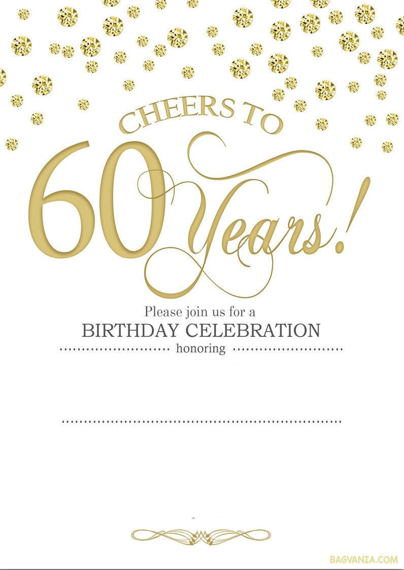 60th Birthday Invitations Template Free Printable 60th Birthday Invitations
