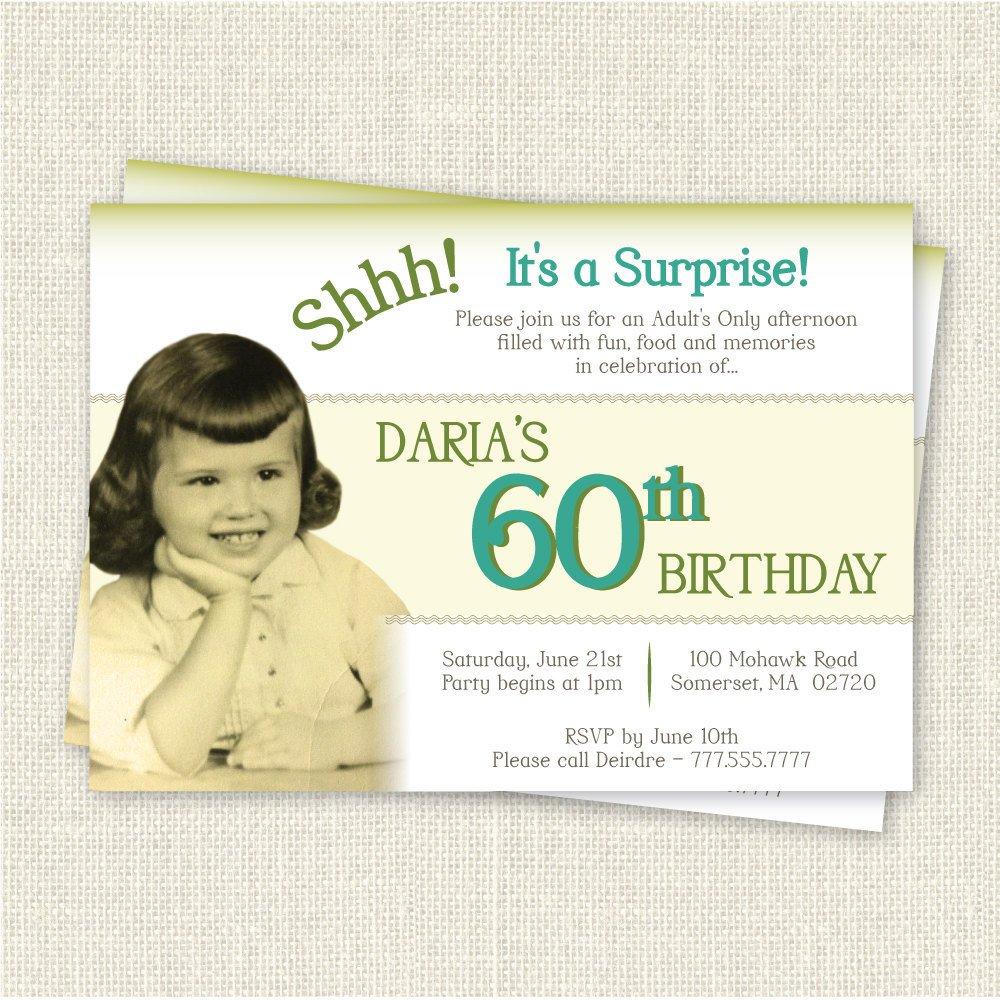 60th Birthday Invitations Template Surprise 60th Birthday Invitation Digital Printable File