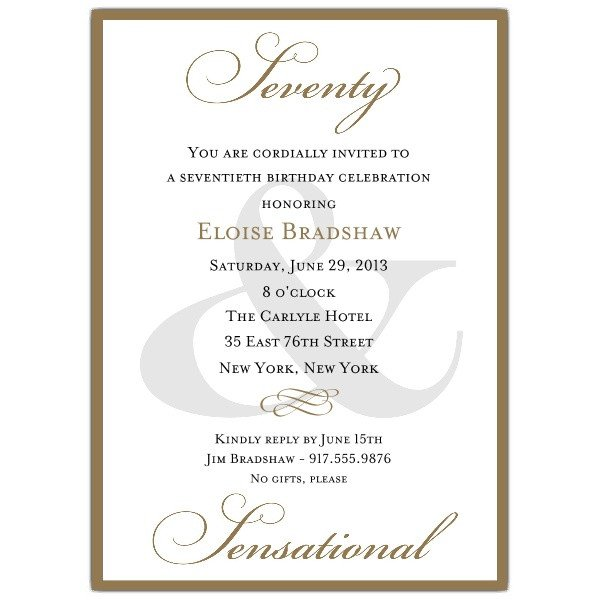60th Birthday Program Sample Classic 70th Birthday Milestone Invitations