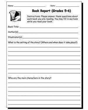 6th Grade Book Report Template Book Report 5 & 6 – Printable Book Report Worksheet