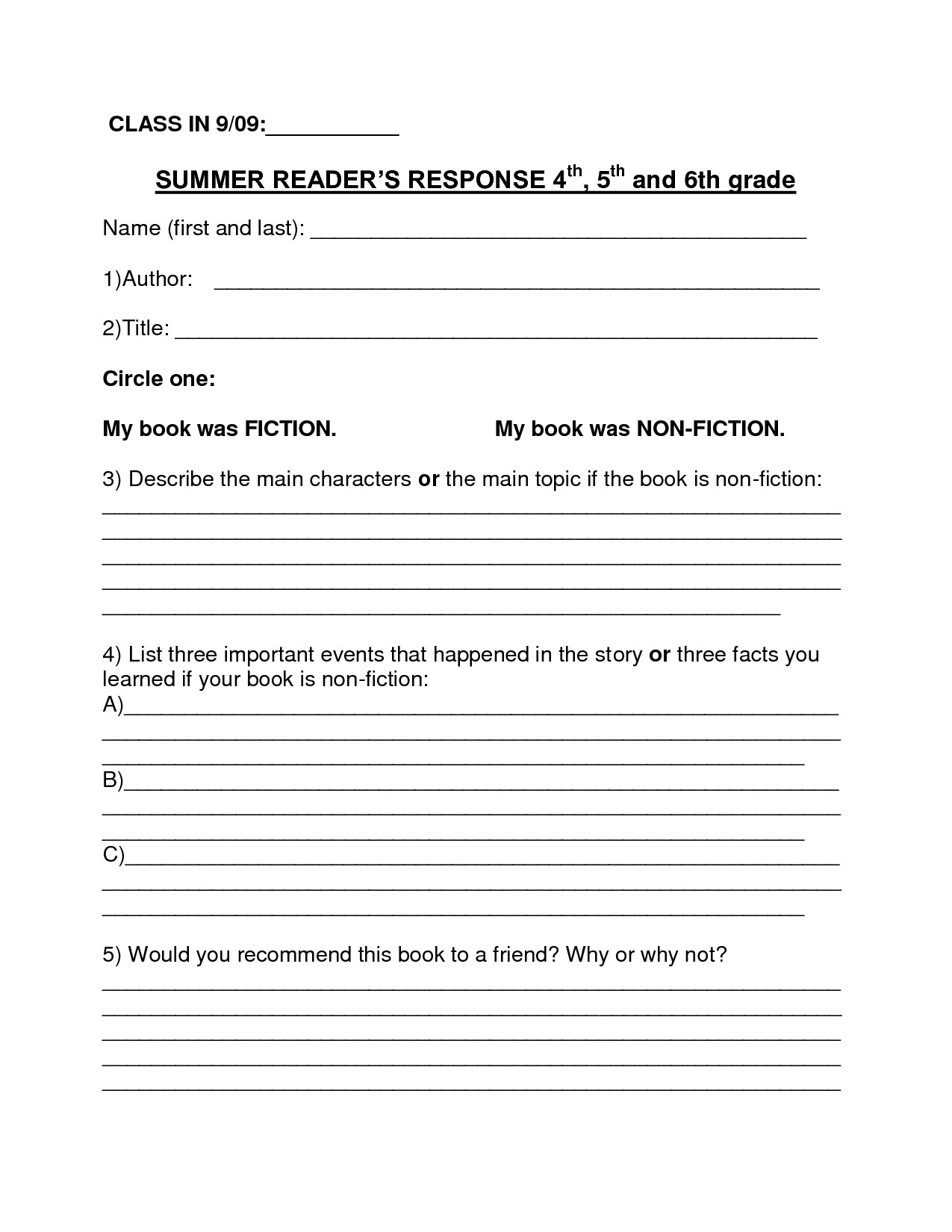 6th Grade Book Report Template Book Report Template