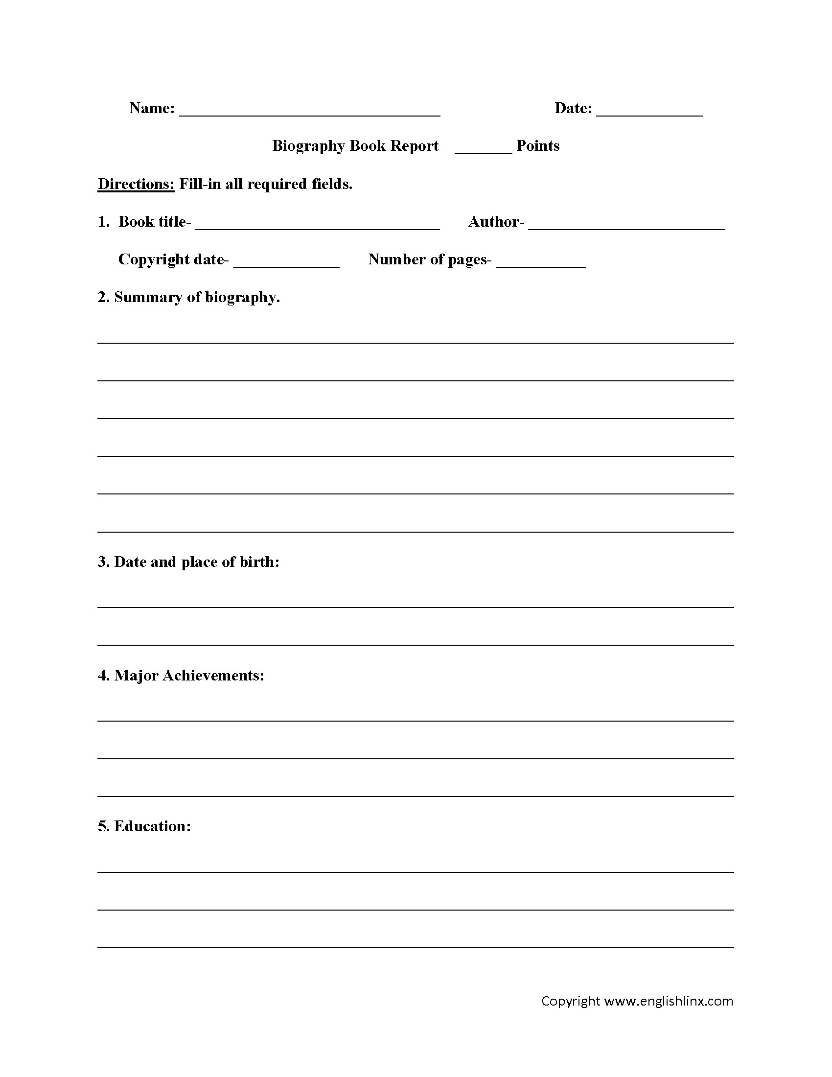 6th Grade Book Report Template Englishlinx