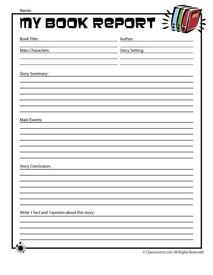 6th Grade Book Report Template Free Book Report forms
