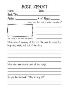 6th Grade Book Report Template Free Book Report Printable Great for Lower Primary