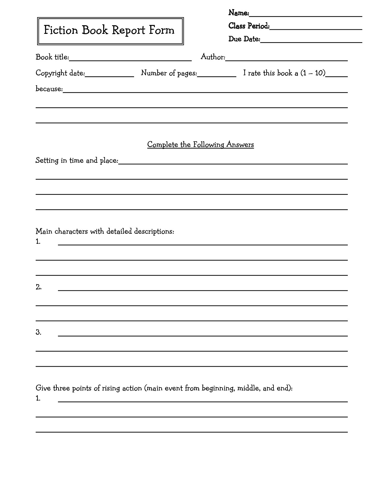 6th Grade Book Report Template Middle School Book Report Brochure 6th Grade