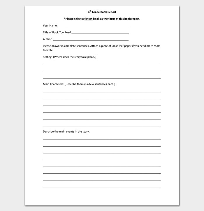 6th Grade Book Report Template Report Outline Template 19 Samples formats & Examples