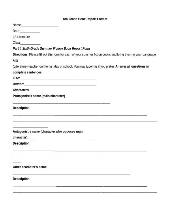 6th Grade Book Report Template Sample Book Report format 10 Free Documents In Pdf Doc