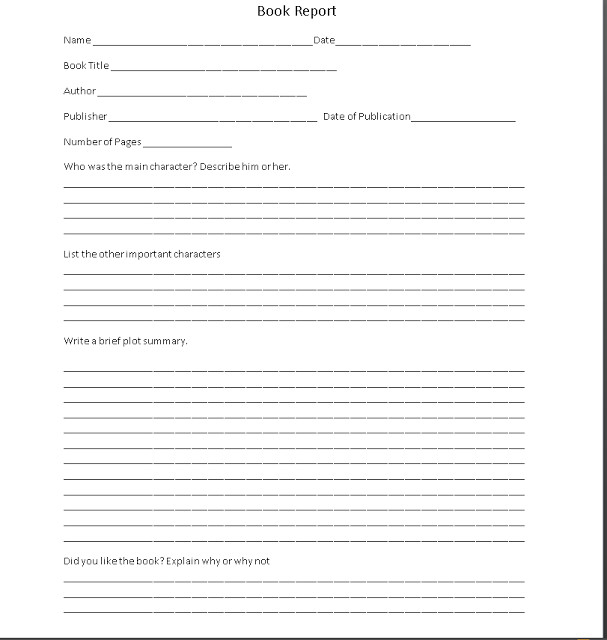 6th Grade Book Report Template Shoved to them 4th 6th Grade Book Report form