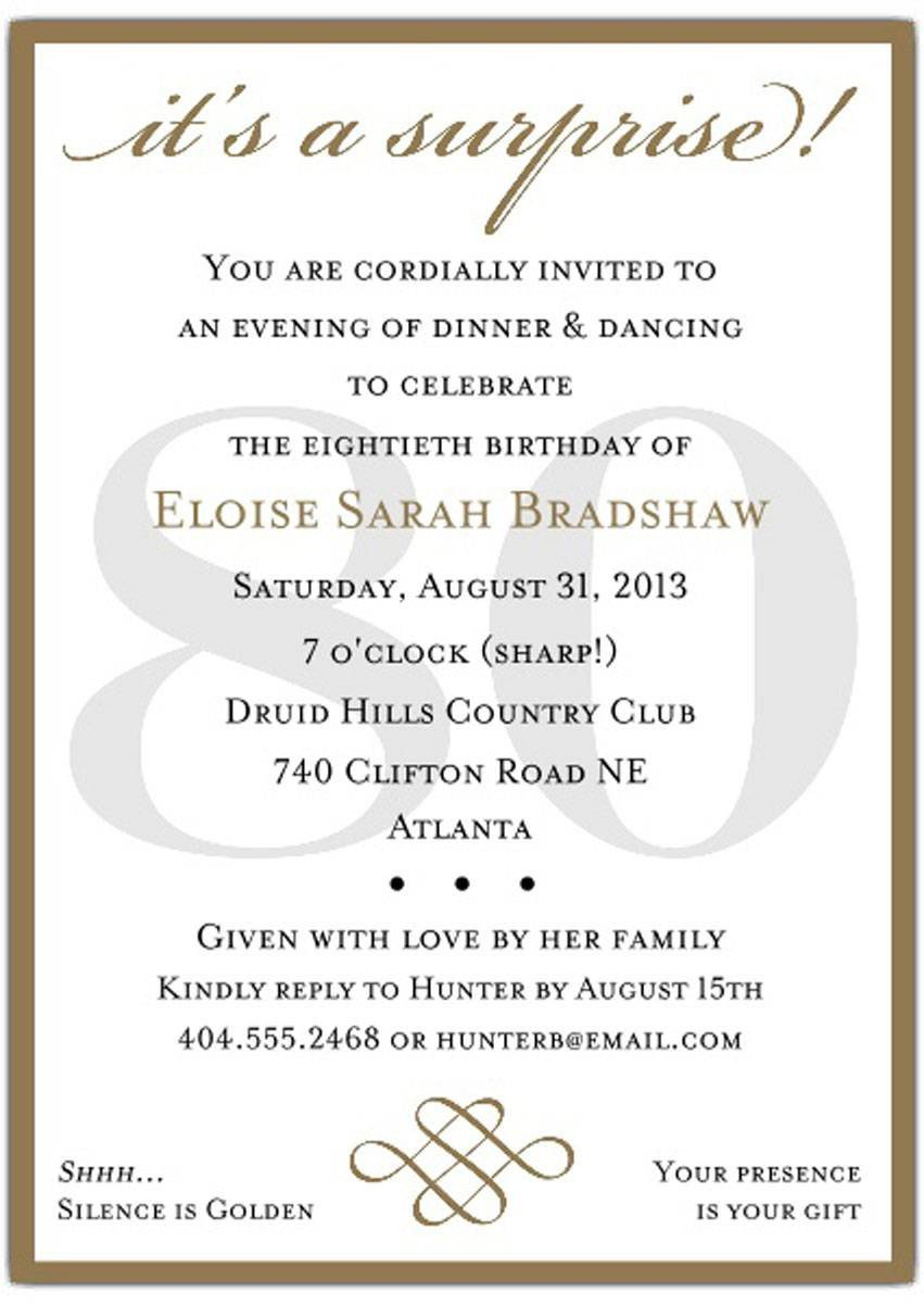 80th Birthday Invitation Templates 10 Sample 80th Birthday Party Invitations