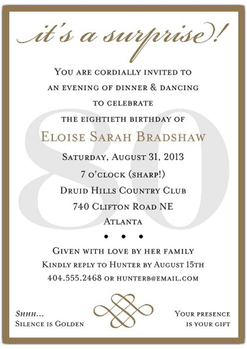 80th Birthday Invitation Templates 10 Sample 80th Birthday Party Invitations