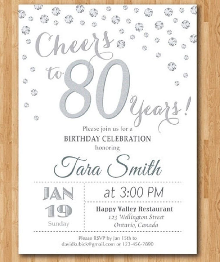 80th Birthday Invitation Templates 80th Birthday Invitations Templates Free