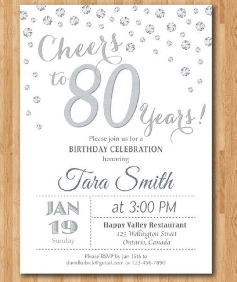 80th Birthday Invitation Templates 80th Birthday Invitations Templates Free