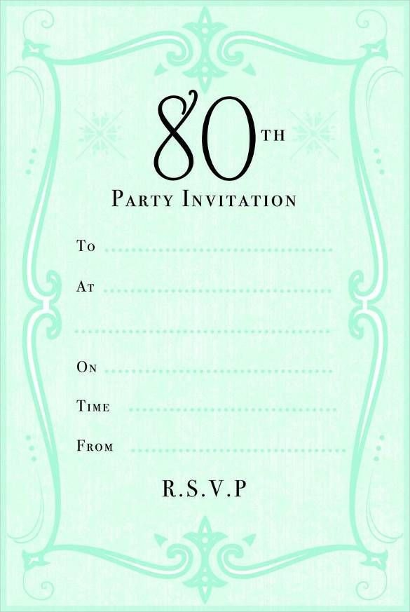 80th Birthday Invitation Templates 80th Birthday Party Invitation Cards Templates
