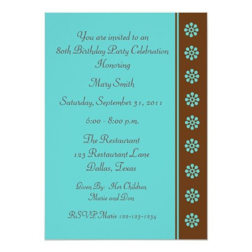 80th Birthday Invitation Templates 80th Birthday Party Invitation Template