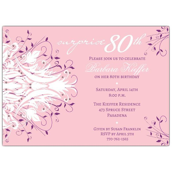 80th Birthday Invitation Templates andromeda Pink Surprise 80th Birthday Invitations