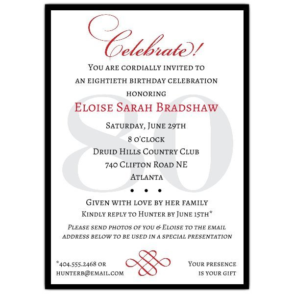 80th Birthday Invitation Templates Classic 80th Birthday Celebrate Party Invitations