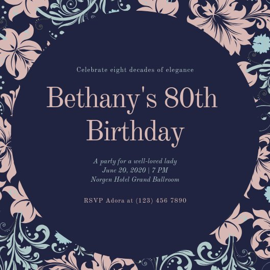 80th Birthday Invitation Templates Customize 359 80th Birthday Invitation Templates Online