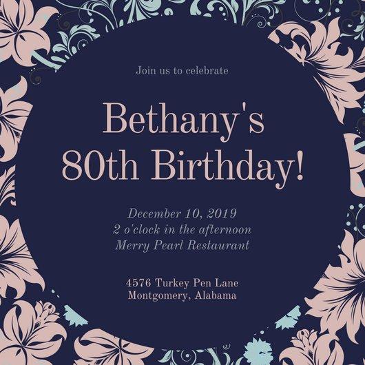 80th Birthday Invitation Templates Customize 985 80th Birthday Invitation Templates Online