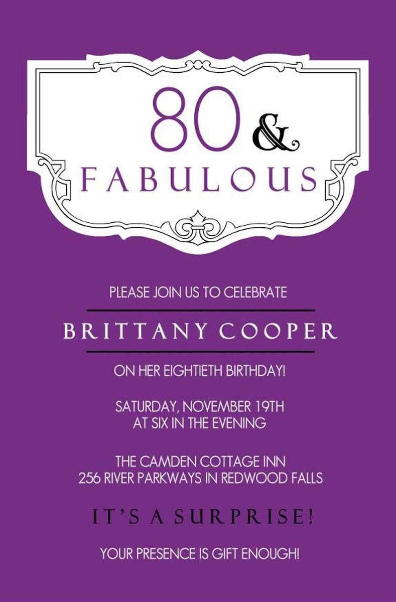 80th Birthday Invitation Templates Elegant Purple 80th Birthday Party Invitations Templates