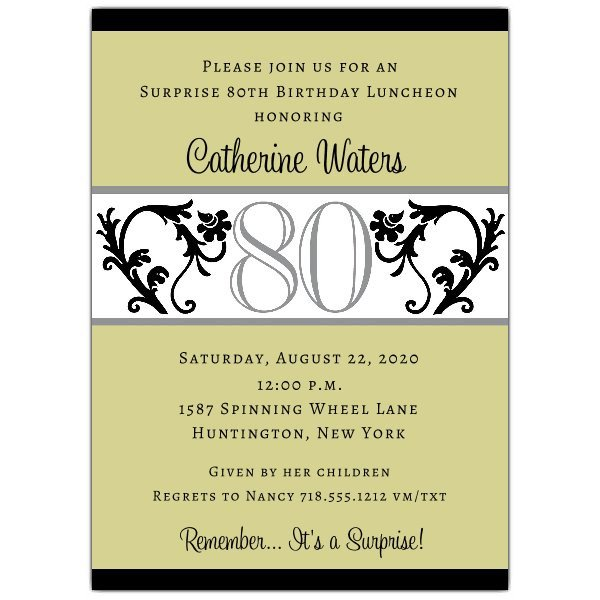 80th Birthday Invitation Templates Elegant Vine Chartreuse 80th Birthday Invitations