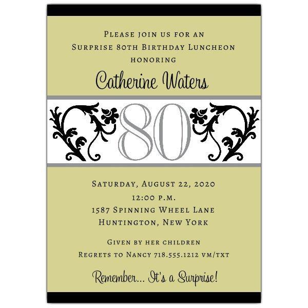 80th Birthday Invitation Templates Elegant Vine Chartreuse 80th Birthday Invitations