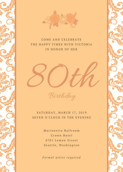 80th Birthday Invitation Templates Hip Grandma Illustration 80th Birthday Invitation