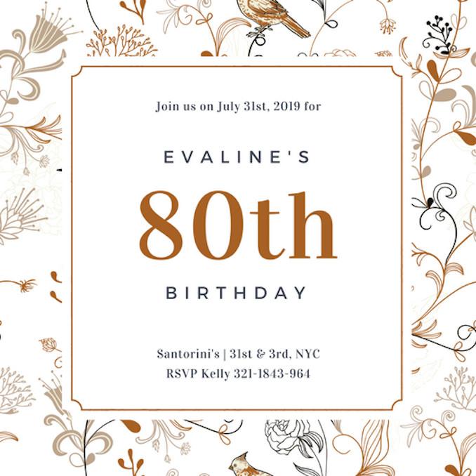 80th Birthday Invitation Templates Invitation Maker Design Your Own Custom Invitation Cards
