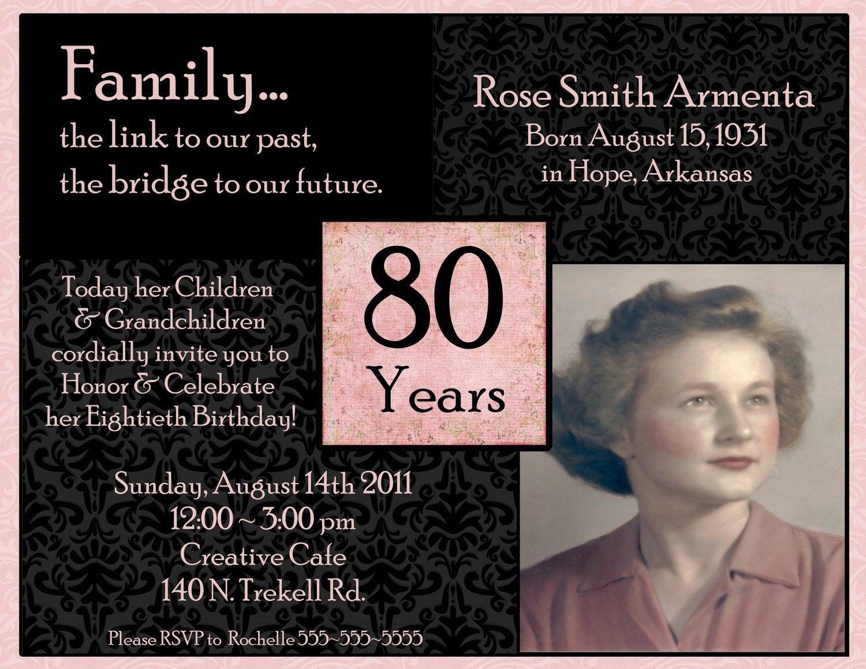 80th Birthday Invitation Templates Invitations On Pinterest