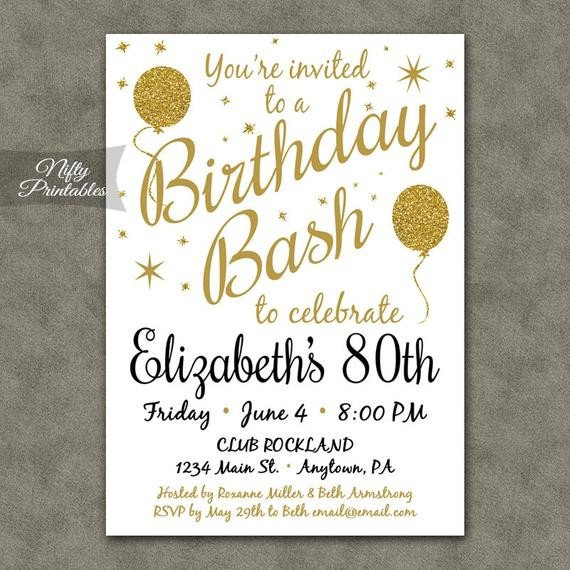 80th Birthday Invitations Templates Free 80th Birthday Invitations Printable 80th Birthday Party